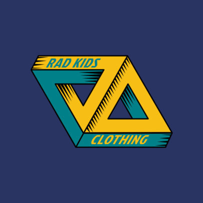 Urban Clothing Logo Template for Skaters Featuring a 3D Triangle Graphic 2650g