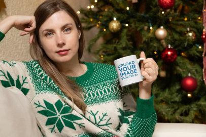 11 oz Mug Mockup Featuring a Woman in a Christmas Setting 30180