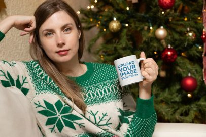 11 oz Mug Mockup Featuring a Woman in a Christmas Setting 30180