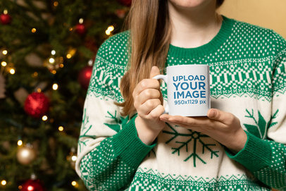 Christmas Mockup of a Woman Holding an 11 oz Coffee Mug 30182