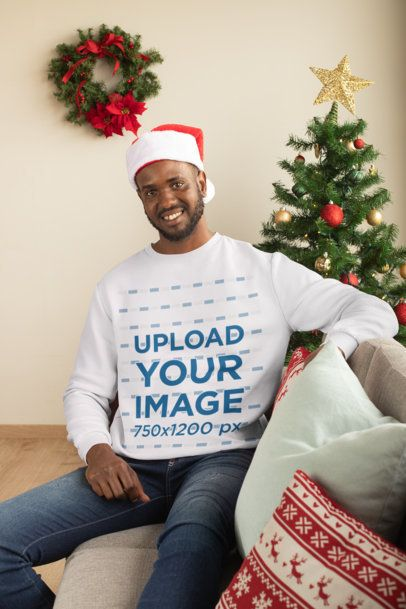 Sweatshirt Mockup of a Man Chilling at a Christmas Decorated Living Room 30345