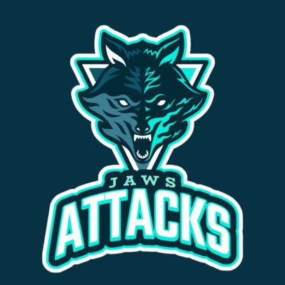 Sports Logo Template Featuring an Aggressive Wolf's Face 2695c