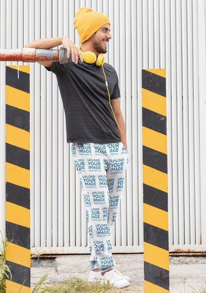 Mockup of a Man Wearing Sweatpants in an Urban Setting 29851