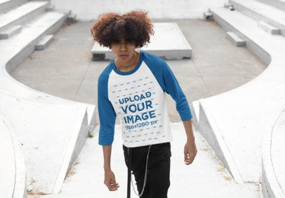 Mockup of a Man with Natural Hair Wearing a Raglan Tee with Three-Quarter Sleeves 30208