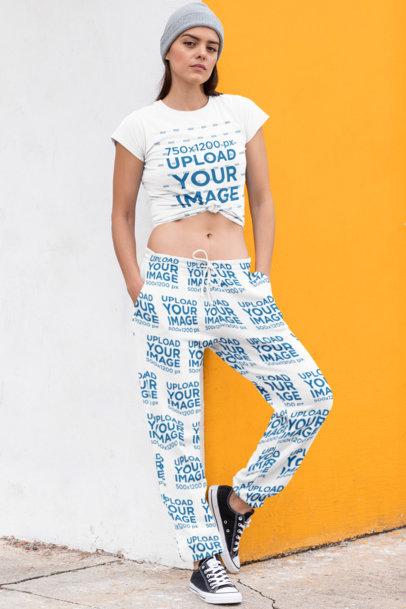 T-Shirt Mockup of a Stylish Woman Wearing Sweatpants 29866