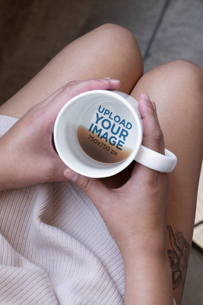 15 oz Hidden Message Mug Mockup Featuring a Woman with a Tattooed Leg 30130