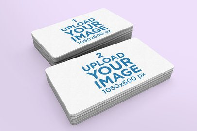 Mockup of Two Piles of Business Cards with Rounded Corners 976-el