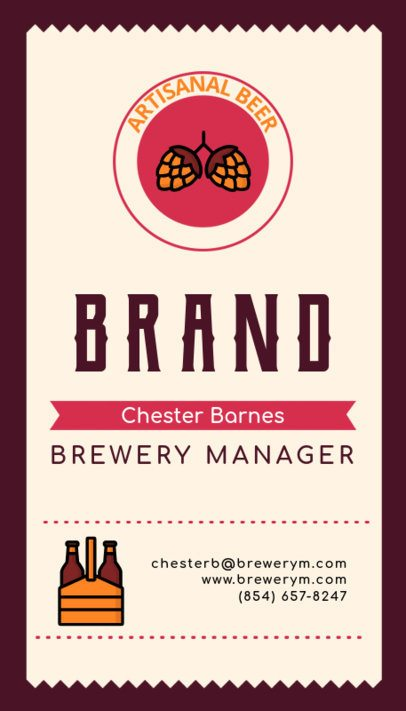Modern Business Card Template for Brewery Managers 261f 132-el