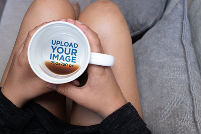 15 oz Hidden Message Mug Mockup of a Young Woman Sitting on a Couch 30133