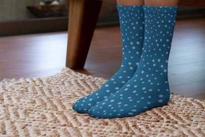 Mockup of a Woman Wearing Sublimated Socks at Home 29531