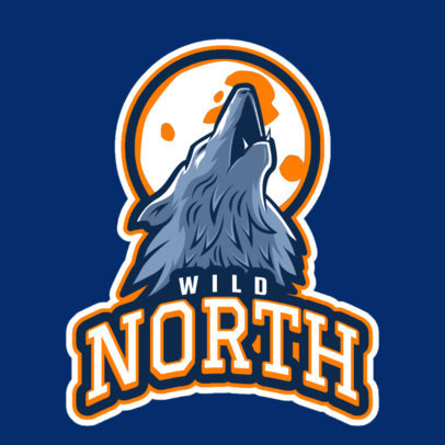 Sports Team Logo Template Featuring a Wolf Howling to a Full Moon 2695f