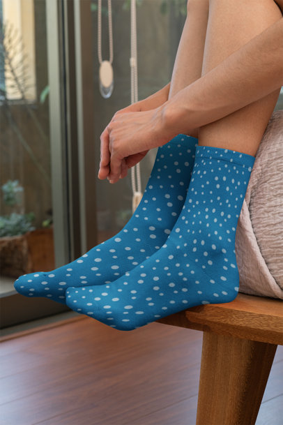 Mockup of Woman Wearing Sublimated Socks 29532