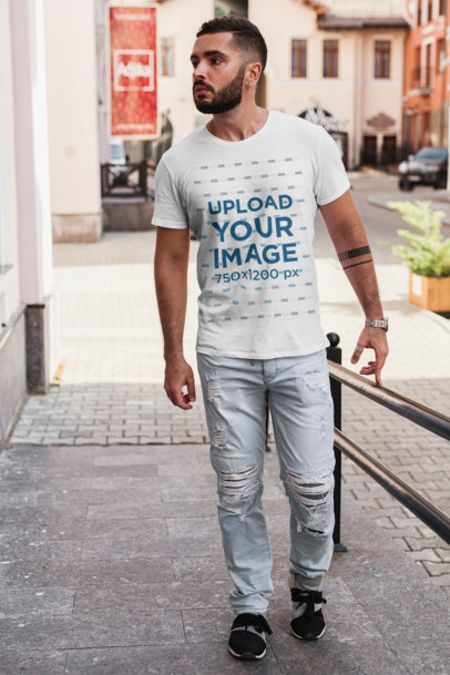 T-Shirt Mockup of a Bearded Man Walking on a Concrete Ramp 1024-el