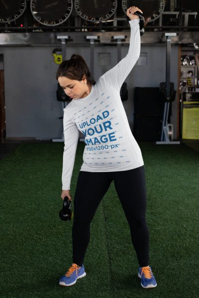 Plus Size Mockup of a Woman with a Long Sleeve Tee Lifting Some Weights 30150