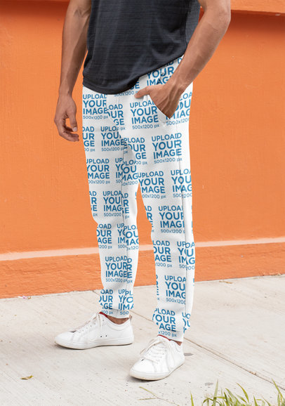 Mockup of a Man Wearing Sublimated Sweatpants on the Street 29848