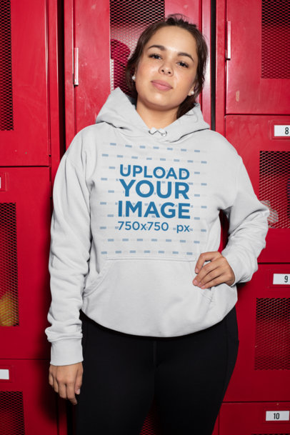Plus Size Hoodie Mockup of a Woman Posing by Some Lockers 30152
