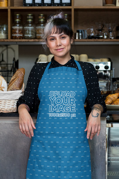 Sublimated Apron Mockup Featuring a Tattooed Woman with Grey Bangs 30274