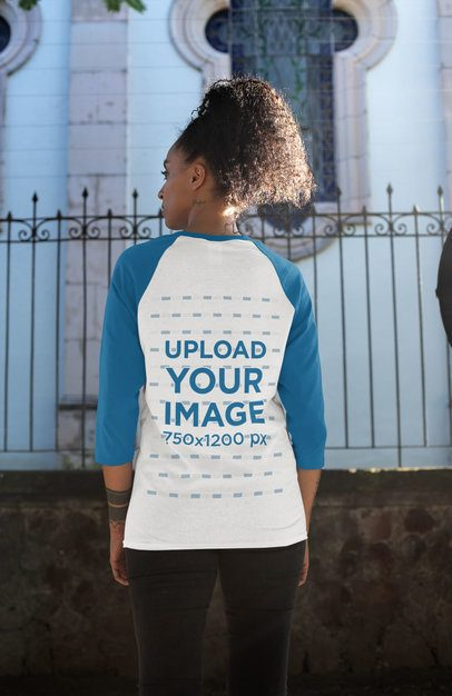 Back View Mockup of a Woman Wearing a Raglan Tee with Three-Quarter Sleeves 30235