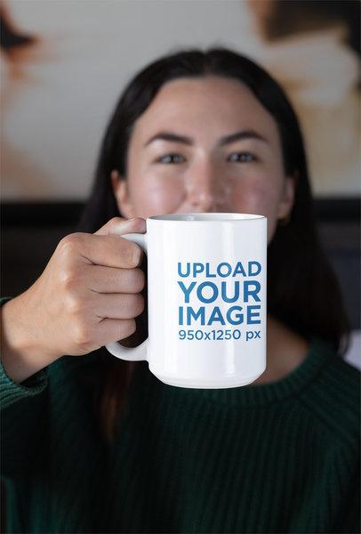 Mockup of a Woman Showing a 15 oz Mug 30128