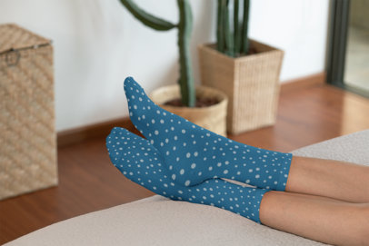 Mockup of a Woman with Sublimated Socks Lying in Bed 29540