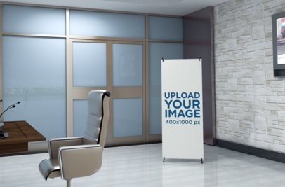 Mockup of an X-Stand Banner at a Modern Office 1033-el