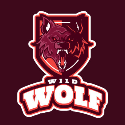 Gaming Logo Template Featuring a Wild Wolf Illustration 2695l 2684