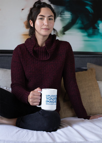15 oz Mug Mockup Featuring a Woman Having a Coffee on Her Bed 30138