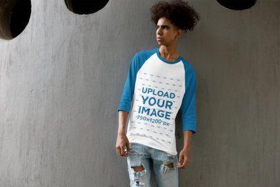 Mockup of a Young Man Wearing a Three-Quarter Sleeves Raglan T-Shirt 30225