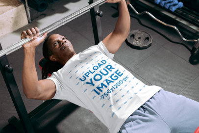 Jersey Mockup Featuring a Man Doing Bench Press Workout at a Gym 30169