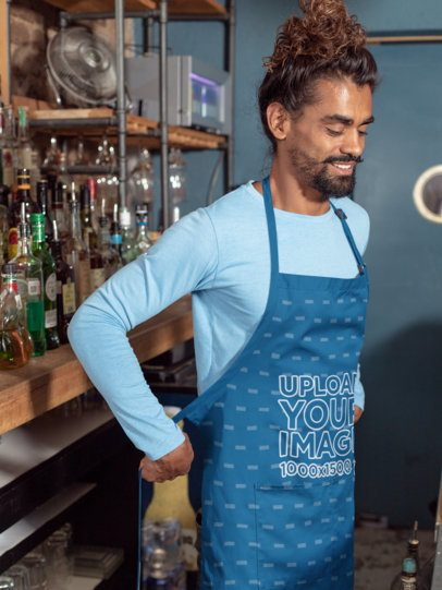 Mockup of a Hipster Barista Putting on a Sublimated Apron 30297