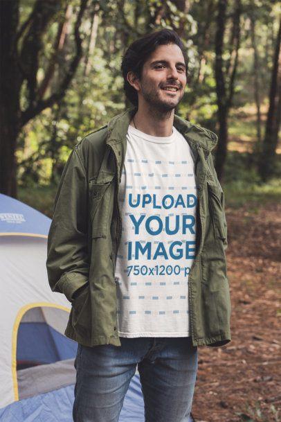 Mockup of a Man with a Crewneck T-Shirt at a Campfire 30474