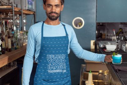 Apron Mockup Featuring a Barista with a Drink on His Hand 30298