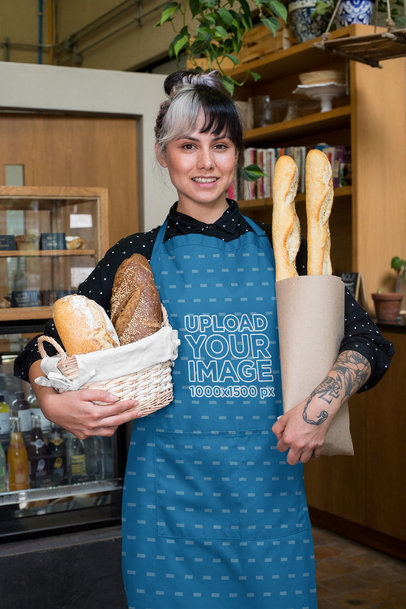 Apron Mockup Featuring a Woman Holding a Basket of Baguettes 30277