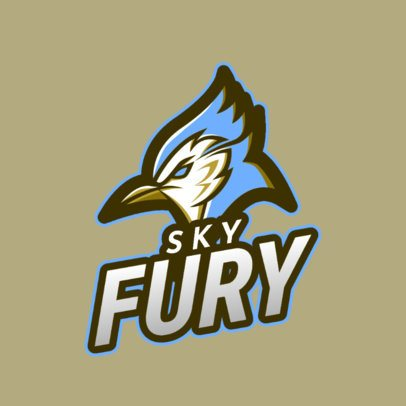 Sports Logo Template Featuring an Angry Blue Jay Clipart 2693n