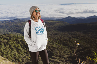 Mockup of a Hiker Wearing a Pullover Hoodie 30500