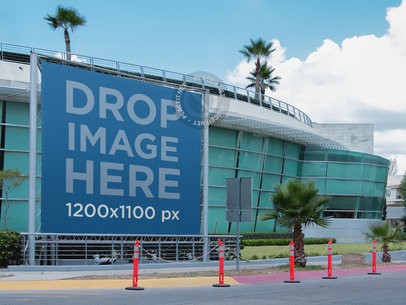 Banner Mockup Outside a Convention Center a11034