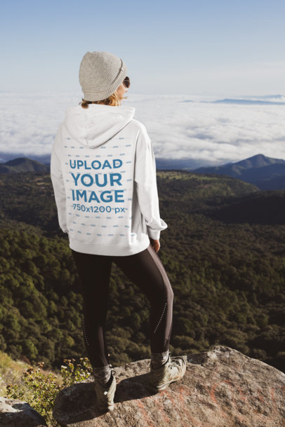 Hoodie Mockup Featuring a Female Hiker at the Top of a Mountain 30499