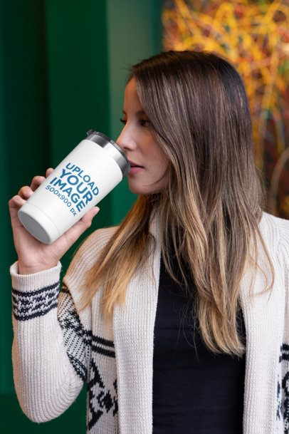 20 oz Travel Mug Mockup Featuring a Woman with Long Hair 30404