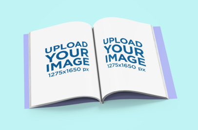 Mockup of an Open Magazine Lying on a Colored Surface 1087-el
