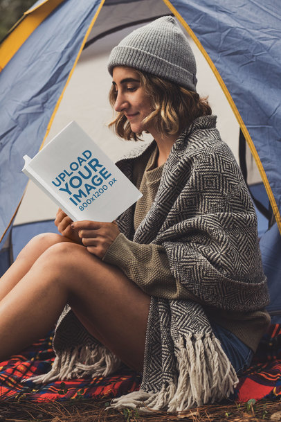 Mockup of a Young Woman Reading a Book at a Campsite 30505