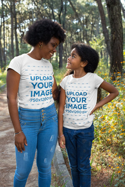 T-Shirt Mockup of a Mom and Daughter Walking in the Park
