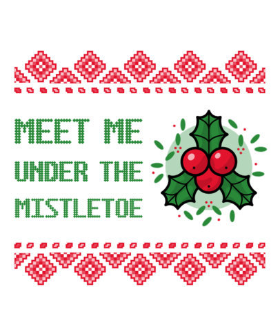Ugly Christmas T-Shirt Design Generator Featuring a Mistletoe Clipart 19a-el