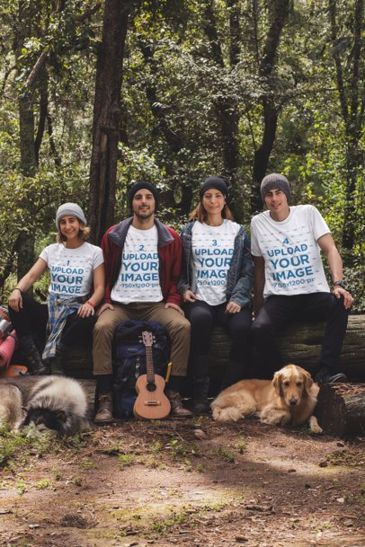 Mockup of Four Friends at a Campsite Wearing Customizable T-Shirts 30485