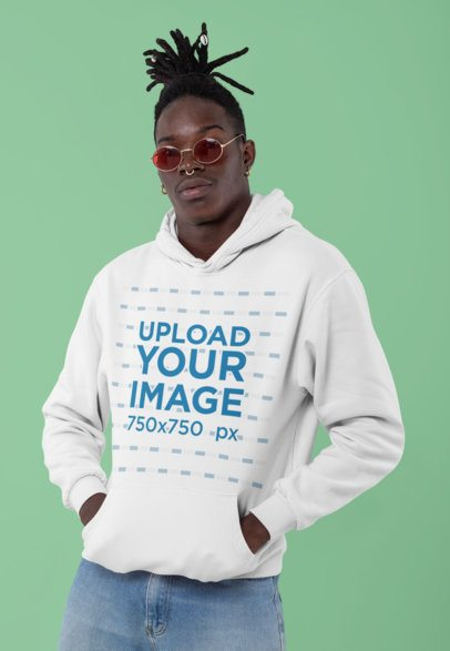 Pullover Hoodie Mockup of a Fashionable Man in a Studio 30540