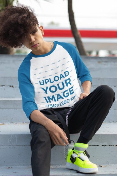 Mockup of a Stylish Young Man Wearing a Raglan T-Shirt with Three-Quarter Sleeves 30210