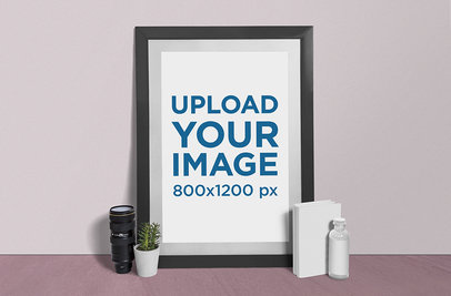 Photo Frame Mockup Featuring a Camera Lens and a Plant Pot 888-el
