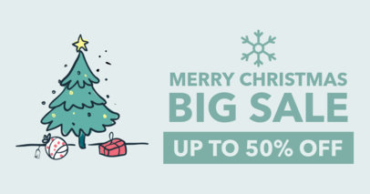 Discount Ad Online Banner Maker with a Christmas Tree Illustration 24-el