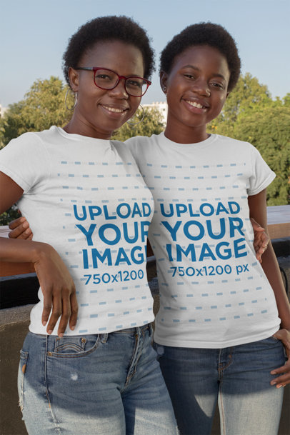 T-Shirt Mockup of Mother and Daughter Posing