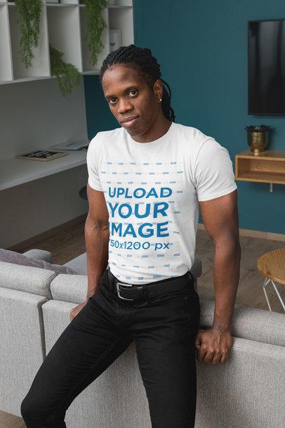 Crewneck T-Shirt Mockup of a Man in a Living Room 30317