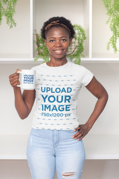 T-Shirt Mockup Featuring a Smiling Woman Holding a 15 oz Coffee Mug 30328